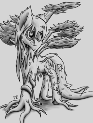 Size: 1500x2000 | Tagged: artist:tunrae, big macintosh, demi-god, digital art, dryad, earth pony, nature, pony, request, safe, sketch, solo, transformed, tree pony