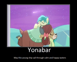 Size: 1075x860 | Tagged: artist:thejboy88, bow, cloven hooves, earth pony, edit, edited screencap, eyes closed, female, hair bow, hug, male, monkey swings, motivational poster, pony, safe, sandbar, screencap, she's all yak, shipping, spoiler:s09e07, stallion, straight, yak, yona, yonabar