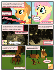 Size: 612x792 | Tagged: safe, artist:newbiespud, edit, edited screencap, screencap, fluttershy, granny smith, earth pony, pegasus, pony, timber wolf, comic:friendship is dragons, comic, dialogue, exclamation point, eyes closed, female, freckles, glowing eyes, hat, headscarf, howling, implied pinkie pie, interrobang, mare, marionette, offscreen character, question mark, roar, scarf, screencap comic, surprised, young granny smith, younger