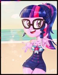 Size: 1191x1536   Tagged: safe, artist:artmlpk, sci-twi, twilight sparkle, equestria girls, equestria girls series, adorable face, adorkable, beach, clothes, cute, dork, female, hips, solo, sun, swimsuit, twiabetes