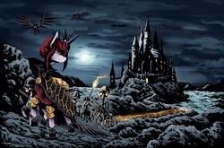 Size: 2311x1525 | Tagged: safe, artist:artguydis, oc, oc:rosa maledicta, pony, skeleton pony, undead, equestria at war mod, army of darkness, bone, castle, dread league, necromancer, scenery, skeleton