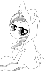 Size: 652x966 | Tagged: animal costume, artist needed, bunny costume, clothes, costume, dangerous mission outfit, female, goggles, hoodie, looking at you, looking back, looking back at you, mare, monochrome, pony, safe, sitting, smiling, solo, sweet biscuit, unicorn