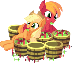 Size: 7884x6929 | Tagged: absurd res, apple, applejack, applejack's hat, artist:cyanlightning, big macintosh, brother and sister, bucket, cowboy hat, cute, duo, ear fluff, earth pony, eating, female, food, hat, jackabetes, macabetes, male, mare, missing accessory, open mouth, pony, safe, siblings, simple background, smiling, stallion, .svg available, transparent background, vector