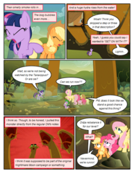 Size: 612x792 | Tagged: applejack, artist:newbiespud, comic, comic:friendship is dragons, coughing, dialogue, dragon, earth pony, edit, edited screencap, eyes closed, female, fluttershy, freckles, hat, hydra, looking up, male, mare, multiple heads, pegasus, pinkie pie, pony, raised hoof, safe, screencap, screencap comic, spike, twilight sparkle, unicorn, unicorn twilight