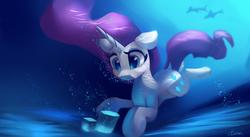 Size: 4427x2431 | Tagged: safe, artist:auroriia, rarity, pony, unicorn, female, holding breath, mare, solo, swimming, underwater