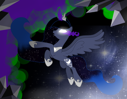 Size: 4299x3360   Tagged: safe, artist:lunaapple, oc, oc only, oc:blue dream, alicorn, pony, alicorn oc, blank eyes, crystal, dark magic, female, glowing eyes, glowing horn, jewelry, magic, mare, offspring, parent:king sombra, parent:princess luna, parents:lumbra, regalia, solo, sombra eyes, space, spread wings