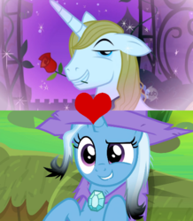 Size: 464x532 | Tagged: safe, edit, edited screencap, screencap, prince blueblood, trixie, pony, a horse shoe-in, the best night ever, spoiler:s09e20, bluetrix, female, flower in mouth, male, rose, rose in mouth, shipping, shipping domino, straight