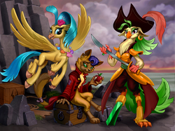 Size: 1600x1196 | Tagged: safe, artist:harwick, capper dapperpaws, captain celaeno, princess skystar, abyssinian, classical hippogriff, hippogriff, parrot pirates, anthro, my little pony: the movie, amputee, apple, beauty mark, clothes, coat, colored hooves, ear piercing, earring, eating, female, flying, food, hat, jewelry, looking at you, male, necklace, peg leg, piercing, pirate, pirate hat, prosthetic leg, prosthetic limb, prosthetics, sword, treasure chest, trio, weapon