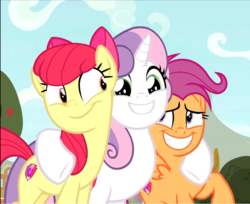 Size: 946x773 | Tagged: safe, screencap, apple bloom, scootaloo, sweetie belle, earth pony, pegasus, pony, unicorn, growing up is hard to do, season 9, spoiler:s09, adorabloom, cropped, cute, cutealoo, cutie mark, cutie mark crusaders, diasweetes, excited, female, group hug, hug, mare, older, older apple bloom, older cmc, older scootaloo, older sweetie belle, raised hoof, smiling, the cmc's cutie marks, trio, underhoof