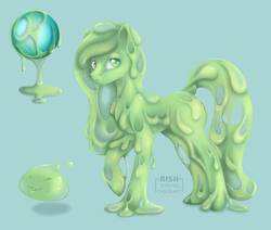 Size: 1276x1080 | Tagged: artist:striped-chocolate, goo pony, oc, oc only, original species, practice, rcf community, safe, simple background, slime