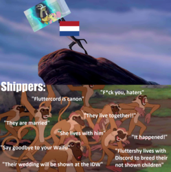 Size: 1433x1437 | Tagged: safe, edit, edited screencap, screencap, discord, fluttershy, the last problem, leak, spoiler:s09e26, censored, disney, implied discoshy, implied shipping, implied straight, meme, netherlands, op is a duck, op is trying to start shit, shipping drama, the lion king