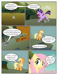 Size: 612x792 | Tagged: applejack, artist:newbiespud, comic, comic:friendship is dragons, dialogue, dragon, earth pony, edit, edited screencap, eyes closed, female, fluttershy, freckles, hat, hydra, implied pinkie pie, looking back, male, mare, mud, multiple heads, pegasus, pony, raised hoof, running, safe, screencap, screencap comic, spike, stuck, twilight sparkle, unicorn, unicorn twilight