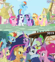 Size: 1280x1440 | Tagged: safe, edit, edited screencap, screencap, applejack, fluttershy, pinkie pie, rainbow dash, rarity, spike, twilight sparkle, alicorn, dragon, earth pony, pegasus, pony, unicorn, the last problem, 2010, 2019, end of ponies, finale, future, gigachad spike, grown, mane seven, mane six, older, older applejack, older fluttershy, older mane seven, older mane six, older pinkie pie, older rainbow dash, older rarity, older spike, older twilight, ponyville, princess twilight 2.0, skunk stripe, twilight sparkle (alicorn), unicorn twilight, winged spike