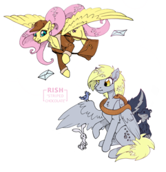 Size: 1040x1080 | Tagged: safe, artist:striped-chocolate, derpy hooves, fluttershy, bird, pegasus, pony, rabbit, animal, duo, female, flying, job swap, mailbag, mailmare, mare, rcf community, role swap, simple background, sitting, swap, white background