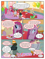 Size: 612x792 | Tagged: safe, artist:newbiespud, edit, edited screencap, screencap, gummy, mr. turnip, pinkie pie, rocky, sir lintsalot, alligator, earth pony, pony, comic:friendship is dragons, party of one, balloon, bruised, cake, comic, dialogue, female, food, grin, hat, insanity, mare, party hat, pinkamena diane pie, screencap comic, smiling