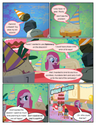 Size: 612x792 | Tagged: safe, artist:newbiespud, edit, edited screencap, screencap, mr. turnip, pinkie pie, rocky, sir lintsalot, earth pony, pony, comic:friendship is dragons, party of one, annoyed, balloon, cake, comic, dialogue, female, floppy ears, food, grin, hat, hooves, insanity, mare, onomatopoeia, open mouth, party hat, pinkamena diane pie, screencap comic, smiling, solo, stool