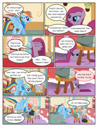 Size: 612x792 | Tagged: safe, artist:newbiespud, edit, edited screencap, screencap, mr. turnip, pinkie pie, rainbow dash, rocky, earth pony, pegasus, pony, comic:friendship is dragons, party of one, angry, bucket, cake, comic, dialogue, female, flying, food, frown, grin, hat, hooves, insanity, looking down, looking up, mare, party hat, pinkamena diane pie, screencap comic, smiling, spread wings, stool, under the table, wings