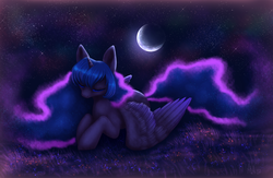 Size: 4200x2740 | Tagged: safe, artist:avrameow, princess luna, alicorn, pony, crescent moon, ethereal mane, eyes closed, female, grass, mare, moon, night, outdoors, prone, solo, spread wings, starry night, stars, three quarter view, wings