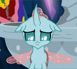 Size: 1045x939 | Tagged: cropped, looking down, ocellus, sad, safe, screencap, solo, spoiler:s09e03, spread wings, uprooted, wings