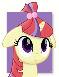 Size: 6146x7972 | Tagged: abstract background, alternate version, artist:potato22, bust, cute, dancerbetes, female, floppy ears, mare, missing accessory, moondancer, pony, portrait, safe, simple background, smiling, solo, unicorn