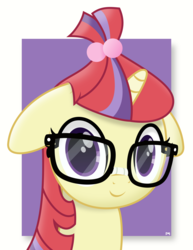 Size: 6146x7972 | Tagged: abstract background, artist:potato22, bust, cute, dancerbetes, female, floppy ears, glasses, looking at you, mare, moondancer, pony, portrait, safe, simple background, smiling, solo, unicorn