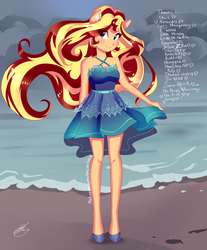 Size: 2488x3000 | Tagged: safe, artist:xjenn9, sunset shimmer, equestria girls, beach, clothes, dress, solo