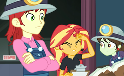 Size: 1164x720 | Tagged: all the world's off stage, background human, choose your own adventure, clothes, crossed arms, equestria girls, equestria girls series, female, helmet, male, nolan north, safe, screencap, sophisticata, sunset shimmer