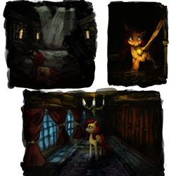 Size: 4000x4000 | Tagged: amnesia the dark descent, artist:misstwipietwins, crossover, fanfic art, fanfic:deep down in the dungeon walls, fluttershy, lantern, pony, safe, solo