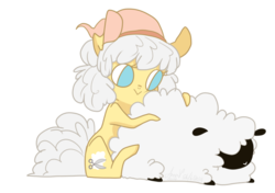 Size: 800x562 | Tagged: safe, artist:laceymod, oc, oc:cotton curl, earth pony, pony, sheep, female, mare, simple background, solo, transparent background