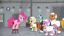 Size: 1920x1080 | Tagged: booties, cap, clipboard, clothes, discovery family logo, earth pony, eye contact, female, filly, gag factory, hat, lab coat, leaning, lemon honey, looking at each other, male, mare, mouth hold, pencil, pinkie pie, pony, safe, sans smirk, screencap, spoiler:s09e14, stallion, teenager, the last laugh, unnamed pony