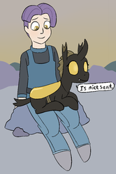 Size: 619x932 | Tagged: safe, artist:heretichesh, oc, oc only, oc:crag, oc:konica, changeling, earth pony, pony, satyr, blushing, changeling oc, clothes, dialogue, offspring, pants, parent:maud pie, sitting, yellow changeling
