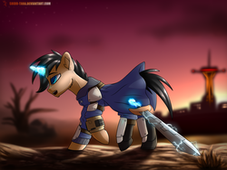 Size: 2000x1500 | Tagged: safe, artist:shido-tara, oc, oc only, oc:daniel evans, pony, unicorn, fallout equestria, armor, black mane, black tail, blue eyes, cloak, clothes, courier six, desert, fallout, fallout equestria: parallelism, fallout: new vegas, fanfic, fanfic art, glowing horn, hooves, horn, levitation, magic, male, open mouth, pipbuck, ponified, solo, stallion, sword, telekinesis, wasteland, weapon