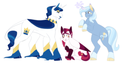 Size: 4267x2192 | Tagged: artist:horsepowerred, cloven hooves, coat markings, colored fetlocks, colored hooves, cutie mark, fancypants, female, filly, foal, hoof fluff, long feather, male, mare, offspring, parent:fancypants, parent:fleur-de-lis, parents:fancyfleur, pony, rearing, safe, stallion, trio, trixie, unicorn, unshorn fetlocks