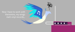 Size: 702x301 | Tagged: safe, artist:parclytaxel, dj pon-3, vinyl scratch, bird, phoenix, birdified, cropped, dialogue, female, flying, musical instrument, simple background, solo, species swap, theremin, transformation, transformed