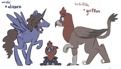 Size: 1020x587 | Tagged: safe, artist:jadeyarts, alicorn, griffon, hippogriff, pony, alicornified, baby griffon, clay moorington, crossover, griffonized, hippogriffied, lego, looking up, nexo knights, offspring, ponified, race swap, sir griffiths, species swap, wanda moorington