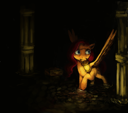 Size: 2419x2127 | Tagged: amnesia the dark descent, artist:misstwipietwins, column, crossover, fanfic art, fanfic:deep down in the dungeon walls, lantern, mouth hold, pegasus, pony, safe, solo, water