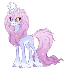 Size: 2000x2163 | Tagged: safe, artist:heilos, tree of harmony, oc, oc:harmony (heilos), classical unicorn, pony, unicorn, alternate design, cloven hooves, female, flower, flower in hair, leonine tail, mare, ponified, simple background, smiling, solo, treehouse of harmony, unshorn fetlocks, white background