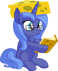 Size: 5791x7069 | Tagged: safe, artist:cyanlightning, princess luna, alicorn, pony, .svg available, absurd resolution, book, cheese, cheese hat, cheesehead, chest fluff, cute, ear fluff, eating, female, filly, folded wings, food, glasses, hat, lunabetes, possible green bay packers merchandise, precious, reading, simple background, sitting, solo, transparent background, vector, wings, woona, younger