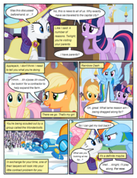 Size: 612x792 | Tagged: safe, artist:newbiespud, edit, edited screencap, screencap, applejack, fluttershy, rainbow dash, rarity, twilight sparkle, earth pony, pegasus, pony, unicorn, comic:friendship is dragons, background pony, background pony audience, clothes, comic, dialogue, dress, female, flying, freckles, goggles, hat, male, mare, referee, screencap comic, stallion, sun hat, unicorn twilight, uniform, wonderbolts, wonderbolts uniform