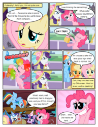 Size: 612x792 | Tagged: applejack, artist:newbiespud, balloon, clothes, comic, comic:friendship is dragons, d:, dialogue, dress, earth pony, edit, edited screencap, female, fluttershy, flying, freckles, grin, hat, jewelry, looking down, looking up, mane six, mare, necklace, onomatopoeia, open mouth, party hat, pegasus, pinkie pie, pony, rainbow dash, rarity, rearing, safe, screencap, screencap comic, smiling, suitcase, sun hat, twilight sparkle, unicorn, unicorn twilight