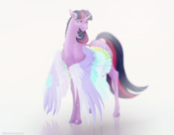 Size: 2265x1765 | Tagged: alicorn, artist:mirtalimeburst, chest fluff, colored wings, curved horn, female, horn, mare, multicolored wings, pony, rainbow roadtrip, safe, simple background, solo, spoiler:rainbow roadtrip, twilight sparkle, twilight sparkle (alicorn), white background, wing bling, wings