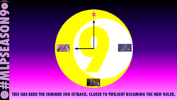 Size: 1152x648 | Tagged: alicorn, applejack, cheerleader discord, clock, cozy glow, cutie mark, discord, dragon, edit, fluttershy, gradient background, grogar's bell, illustrator, lord tirek, mlp s9 countdown, photoshop, pinkie pie, princess celestia, princess luna, queen chrysalis, rainbow dash, rarity, safe, spike, spoiler:s09e17, the summer sun setback, twilight sparkle, twilight sparkle (alicorn), watchmen, winged spike