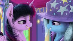 Size: 2500x1406   Tagged: safe, artist:thatdreamerarts, trixie, twilight sparkle, alicorn, pony, unicorn, no second prances, duo, duo female, eye contact, female, grin, lidded eyes, looking at each other, mare, scene interpretation, smiling, twilight sparkle (alicorn), uncanny valley