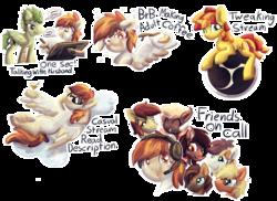 Size: 6600x4800 | Tagged: safe, artist:amura-of-jupiter, oc, oc:hoxie redhoof, oc:luster, oc:macaron dreams, oc:pixel perfect, bat pony, pegasus, pony, unicorn, alcohol, bat pony oc, birthmark, cintiq, cloud, drunk, drunk bubbles, female, floppy ears, headset, headset mic, logo, male, microphone, obs, speech bubble, sunglasses, tablet pen, talking