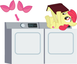Size: 1271x1060 | Tagged: accessory-less edit, adorabloom, anonymous artist, apple bloom, apple bloom's bow, artist:gurugrendo, artist:porygon2z, book, bow, cute, cutie mark, dryer, earth pony, edit, editor:slayerbvc, female, filly, hair bow, laundry, missing accessory, on back, pony, reading, safe, silly, silly pony, simple background, solo, the cmc's cutie marks, transparent background, underhoof, vector, vector edit, washing machine