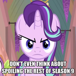 Size: 1350x1350 | Tagged: safe, edit, edited screencap, screencap, spike, starlight glimmer, dragon, pony, unicorn, a matter of principals, :c, >:c, angry, caption, cropped, cute, female, frown, glimmerbetes, image macro, implied season 9, madorable, mare, meme, no spoilers, solo, solo focus, text, text edit, winged spike