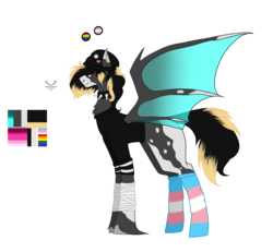 Size: 7370x6803 | Tagged: artist:moonlight0shadow0, badge, bandage, bat pony, bat pony oc, beanie, blank flank, chest fluff, choker, clothes, ear piercing, earring, fangs, gay pride flag, hat, jewelry, male, markings, nose piercing, nose ring, oc, oc:envoifal, oc only, piercing, pony, reference sheet, safe, shirt, simple background, socks, solo, spiked choker, stallion, striped socks, tongue out, tongue piercing, trans boy, transgender, transgender pride flag, transparent background, unshorn fetlocks