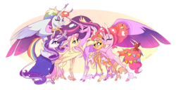 Size: 3871x1989 | Tagged: safe, artist:marbola, applejack, fluttershy, pinkie pie, rainbow dash, rarity, twilight sparkle, alicorn, earth pony, pegasus, pony, unicorn, the last problem, female, mane six, mare, older, older applejack, older fluttershy, older pinkie pie, older rainbow dash, older rarity, older twilight, princess twilight 2.0, skunk stripe, smiling, twilight sparkle (alicorn)