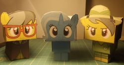 Size: 1200x630 | Tagged: a.k. yearling, artist:grapefruitface1, arts and crafts, craft, cubeecraft, daring do, irl, papercraft, photo, safe, toy, trixie