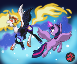 Size: 2900x2400   Tagged: safe, artist:darkprinceismyname, daybreaker, nightmare moon, twilight sparkle, alicorn, pony, conjoined, fusion, multiple heads, twilight sparkle (alicorn), two heads, two heads are better than one, we have become one